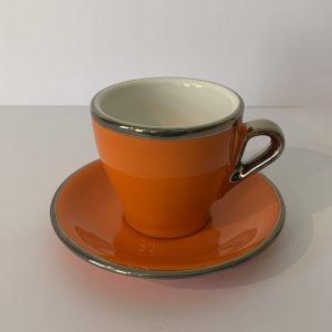 Terra – Cappuccino-Tasse mit Unterteller Orange