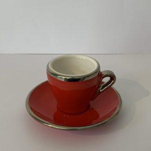 Terra – Espresso-Tasse mit Unterteller Rot
